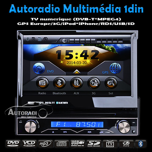autoradio multim dia 1din dvb t. Black Bedroom Furniture Sets. Home Design Ideas
