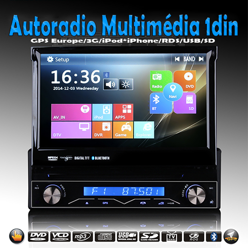 autoradio gps bluetooth win8 1din. Black Bedroom Furniture Sets. Home Design Ideas
