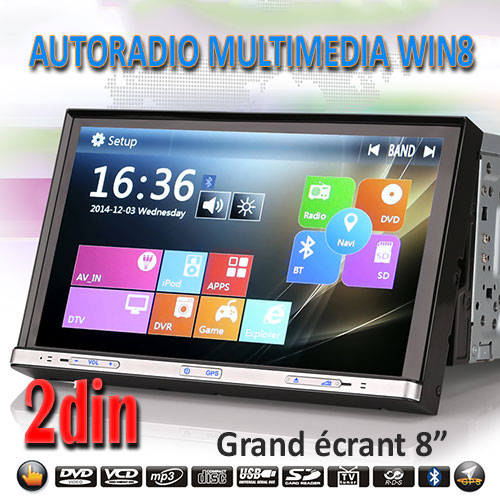 autoradio 2din win8 dvd gps. Black Bedroom Furniture Sets. Home Design Ideas